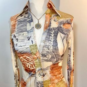 Vintage Button-front top with watercolor print SM